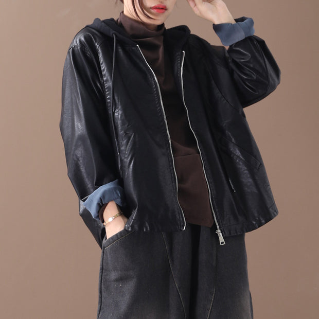 New Solid Color Stitching Leather Short Coat