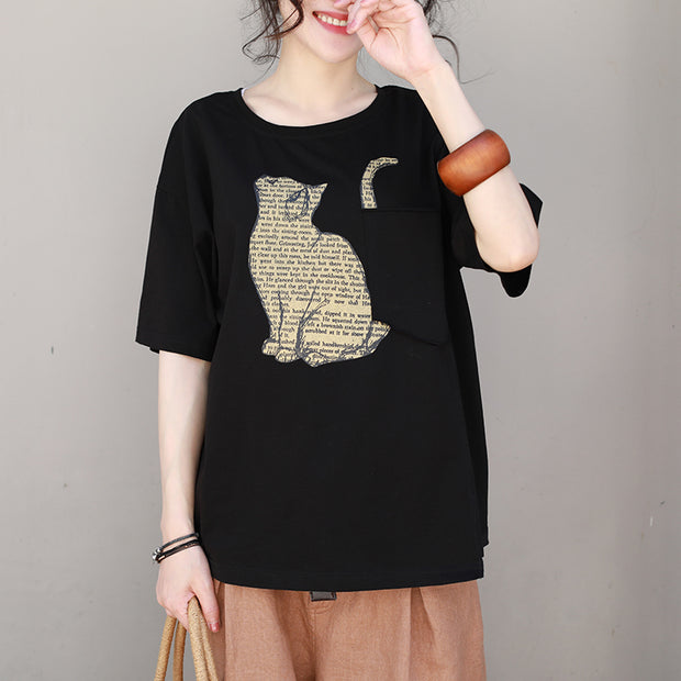 Newspaper Cat Printed Loose And Breathable T-Shirt