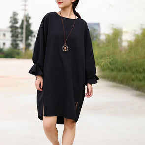 O-neck Fashion Slit Black Dress Knee-length