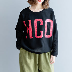 O-neck Print Letter Casual Cotton Sweatshirt