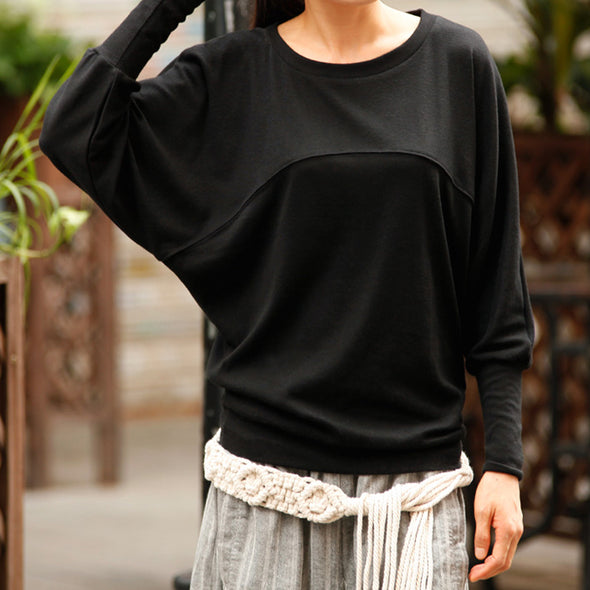 O-neck Women Solid Autumn Batwing Sleeve T-shirt