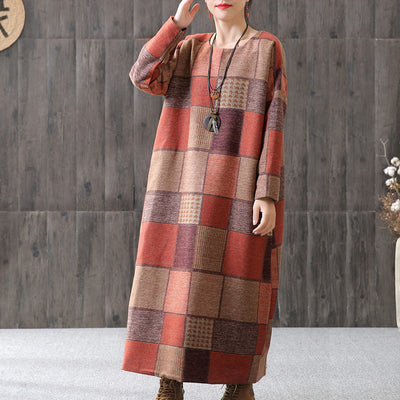 Plaid Long Sleeve Round Neck Winter Maxi Dress