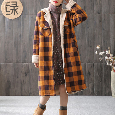 Cardigan Women Plaid Loose Winter Long Coat