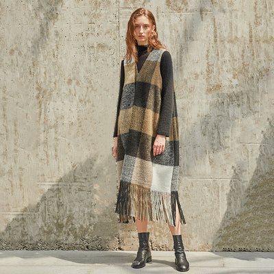 Plus Size V Neck Wool Polyester Tassel Plaid Loose Dress
