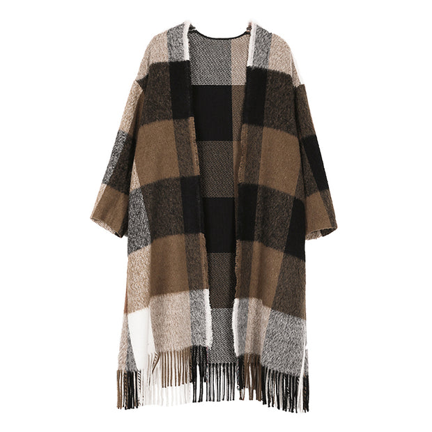Plus Size Plaid Tassel Cloak Casual Loose Coat