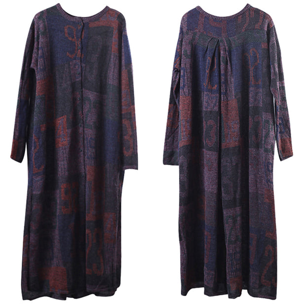 Knitted Printing Split Pleated Spring Maxi Dress