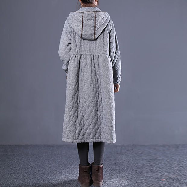 Hoodie Lace Pleated Women Long Cotton Coat