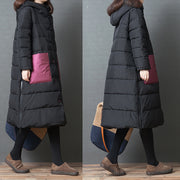 Hoodie Single Breasted Winter Women Long Coat