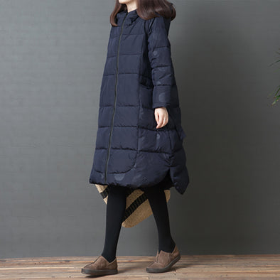 Zipper Up Dot Print Zipper Up Hoody Cotton Coat