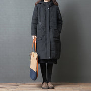 Hoodie Split Knee Length Women Winter Polyester Coat