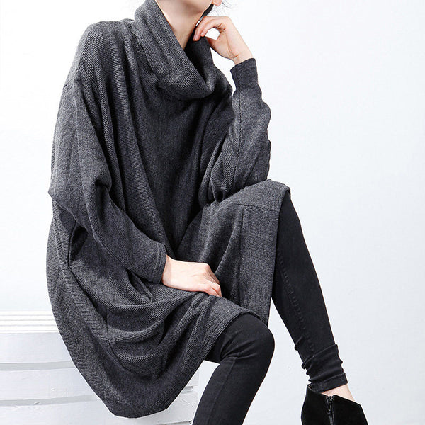 Loose Batwing Sleeve Turtleneck Winter Dress