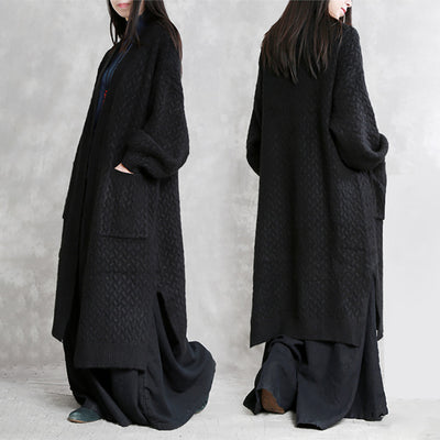 Knitted Split Women Cardigan Loose Long Coat