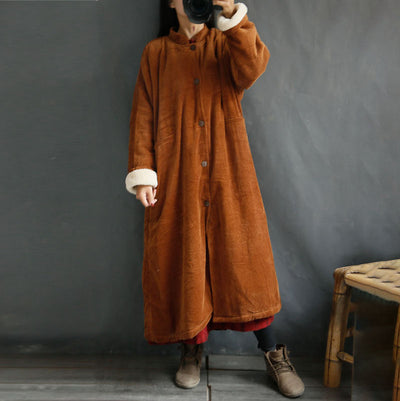 Chinese Styel Stand Collar Women Long Vintage Coat