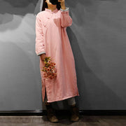 Chinese Style Winter Cotton Linen Cardigan Dress