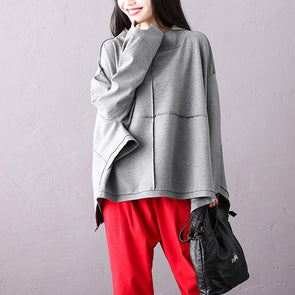 Round Neck Commuter Autumn Batwing Sleeve Solid Cotton Top