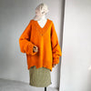 V Neck Batwing Sleeve Irregular Hem Sweater