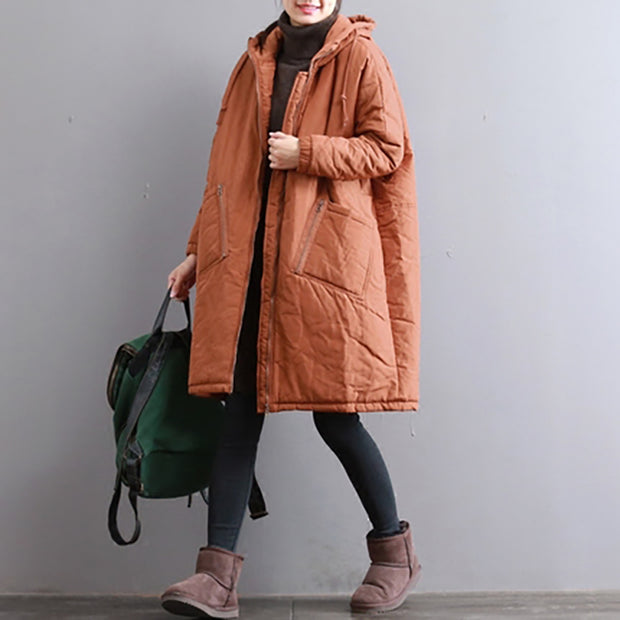 Hoodie Zipper Up Winter Cotton Long Women Coat