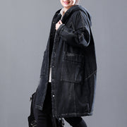 Denim Cotton Hoodie Fleece Winter Women Long Coat