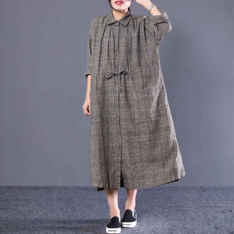 Plus Size - Polo Neck Plaid Cotton Linen Women Dress