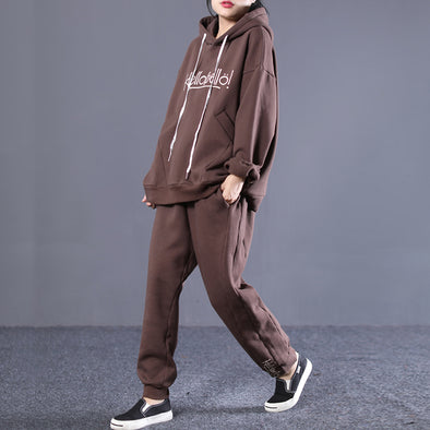 Casual Hoodies Sweatshirt And Harem Pants Suits