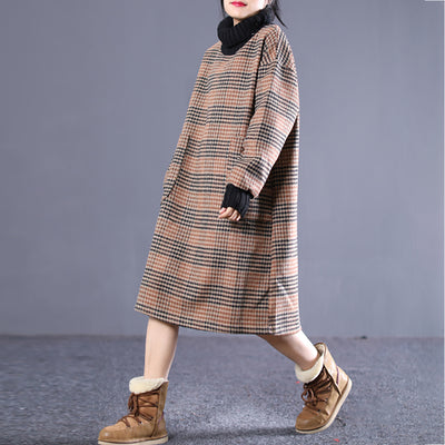 Plaid Spliced Turtleneck Midi Winter Dress