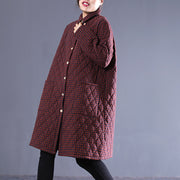 Plaid Loose Winter Vintage Women Cotton Coat