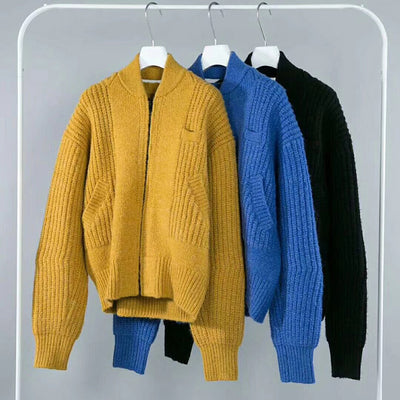 Zipper Up Loose Women Knitted Sweater Coat