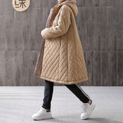 Embroidered Women Hoodie Single Breasted Winter Coat