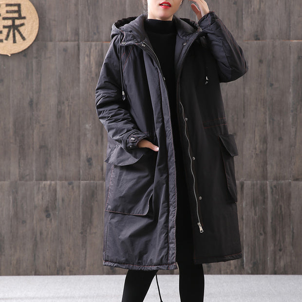Hoodie Zipper Up Buckles Women Drawstring Winter Coat