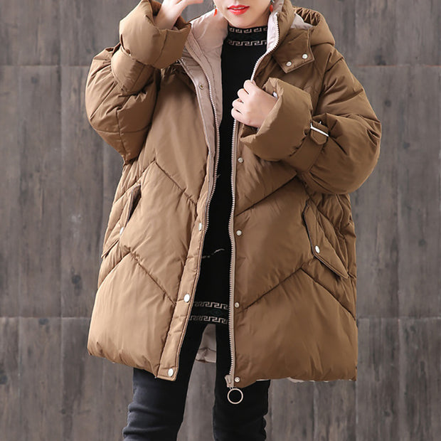 Winter Women Hoodie Zipper Up Buckles Casual Coat