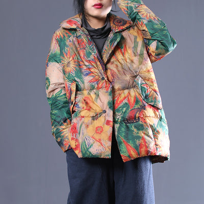 Flower Print Winter Women Loose Cotton Coat