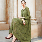 Casual Floral Daily Green Long Sleeve Midi Dress