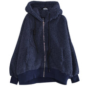 Zipper Up Hoodie Cotton Women Winter Coat