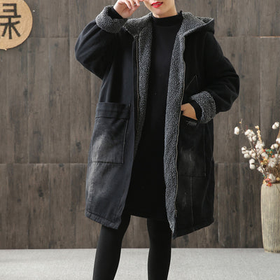 Women Denim Thick Cotton Hoodie Long Coat