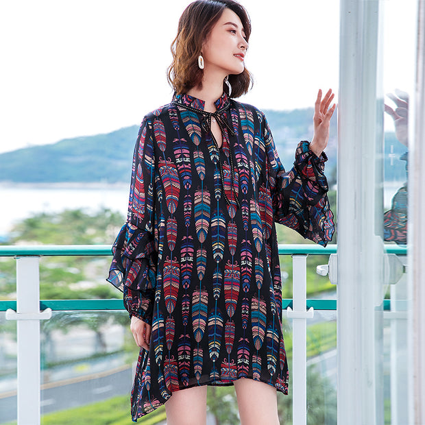 Ruffles Printing Lacing Loose Long Sleeve Mini Dress