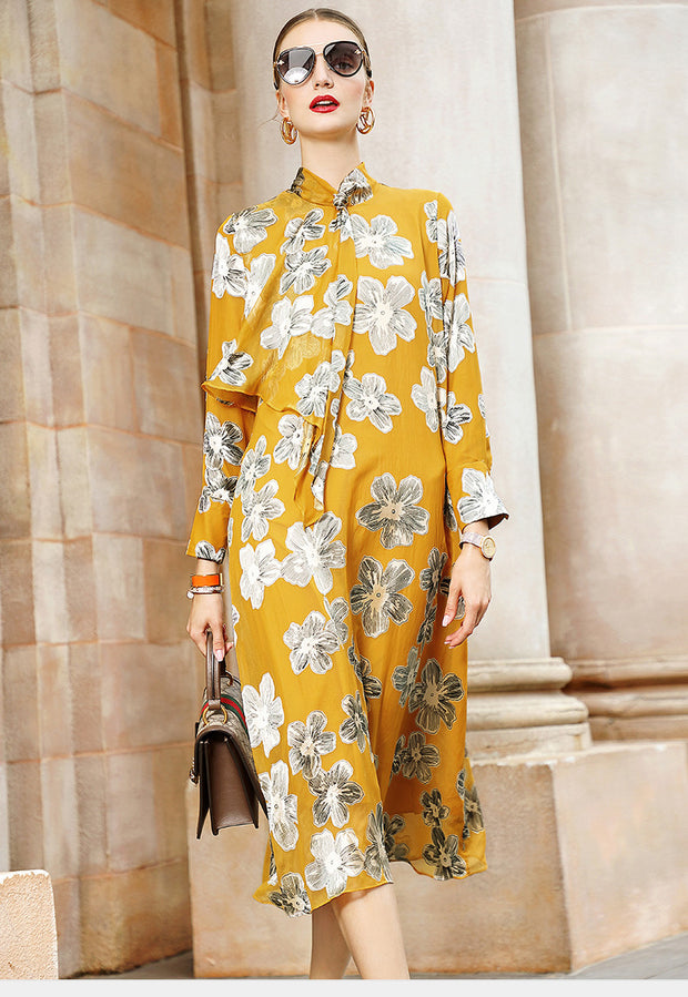 Tie-Neck Casual Printed Floral Midi Dress