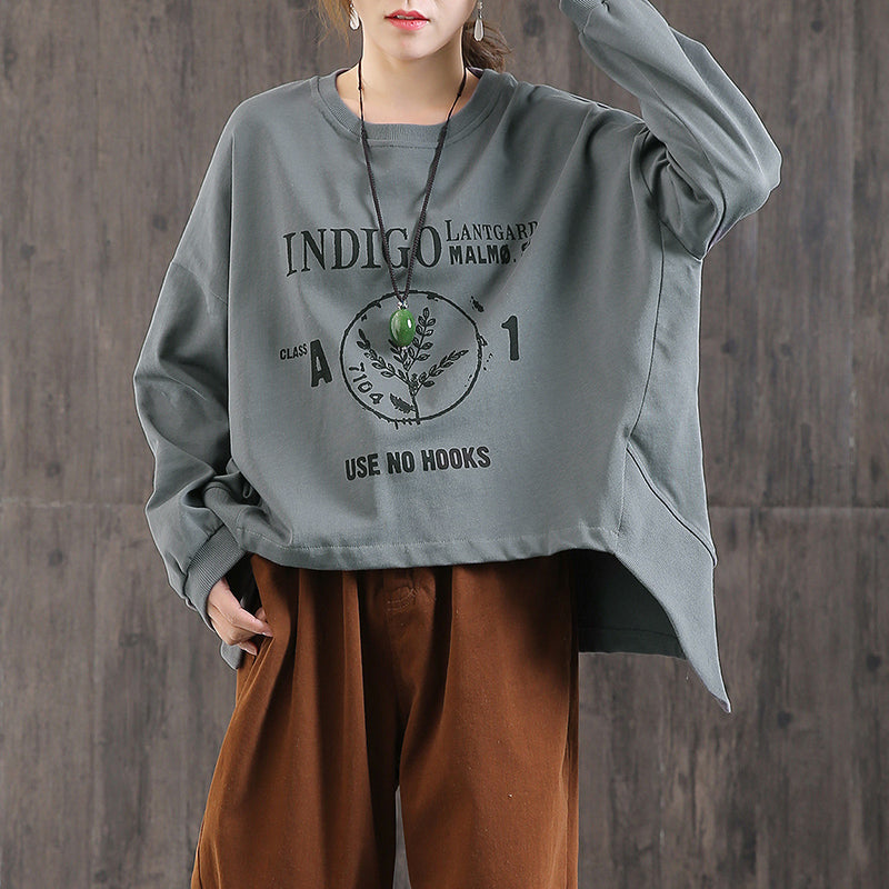High Low Hem Letter Printed Loose Sweatshirt