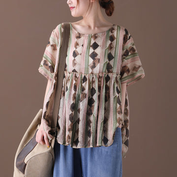 Pleated Patchwork Women Summer Loose T-shirt