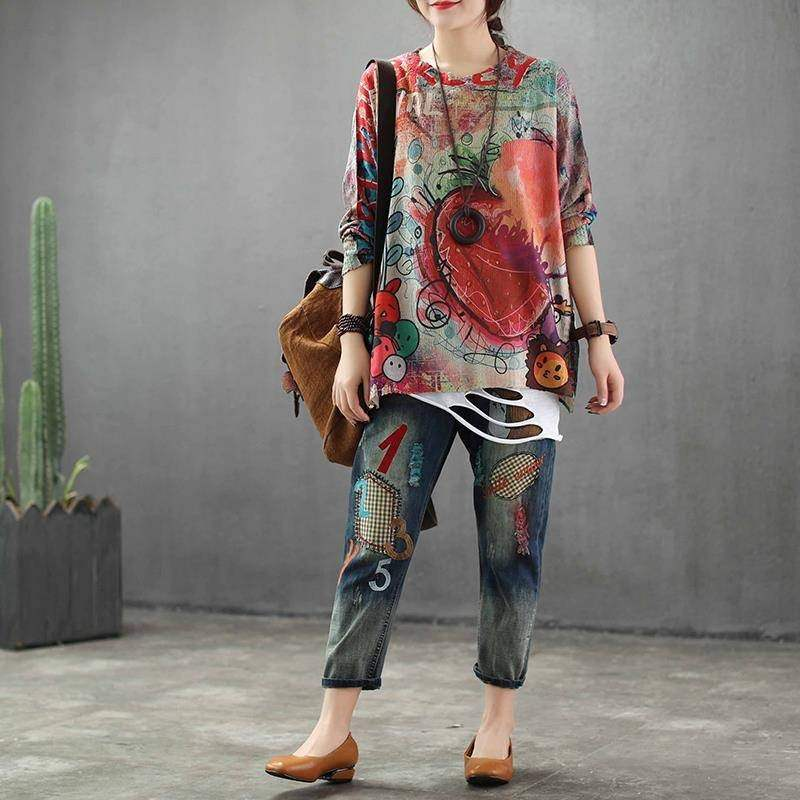 Distressed Printed Thin Knitted Shirt