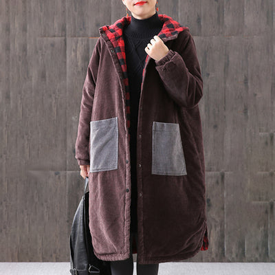 Winter Women Cardigan Hoodie Split Vintage Coat