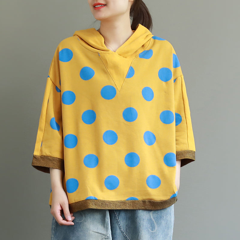 Loose Cotton Dot Hooded Print Blouse
