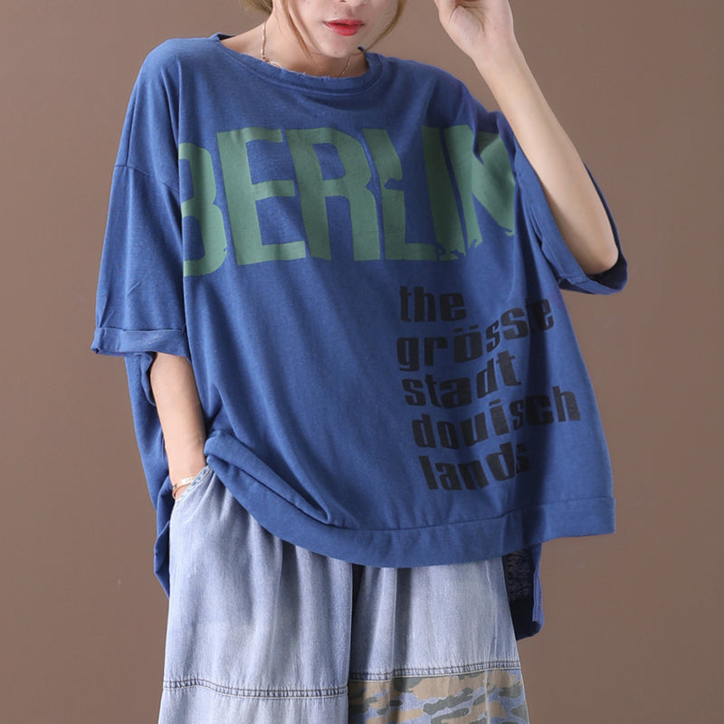 Letter Prints Summer Women Loose Cotton T-shirt