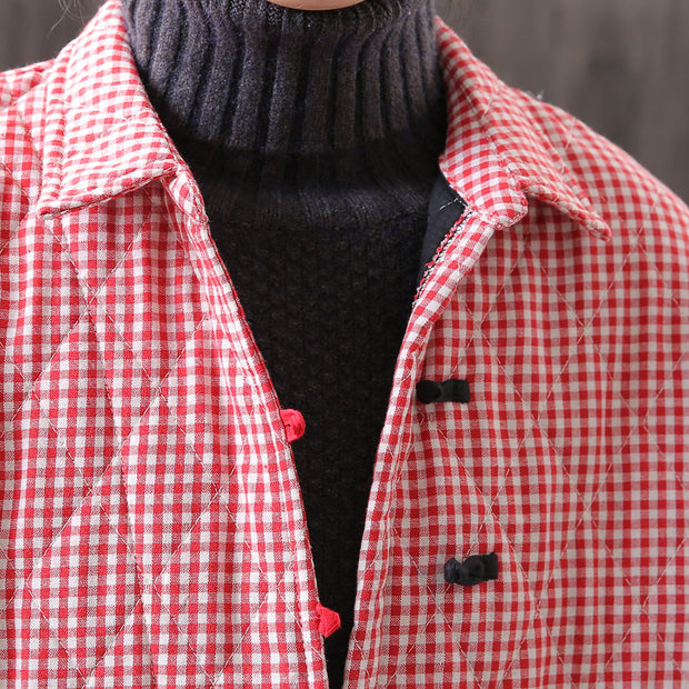 Plaid Women Cotton Vintage Winter Retro Coat