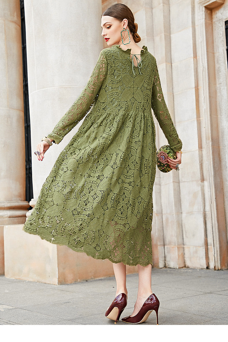 Buykud Hand- Made Floral  Green Long Sleeve Plus Size  Dress