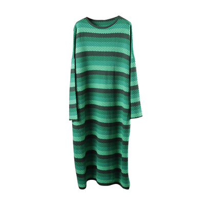 Spring Split Loose Casual Stripe Maxi Dress