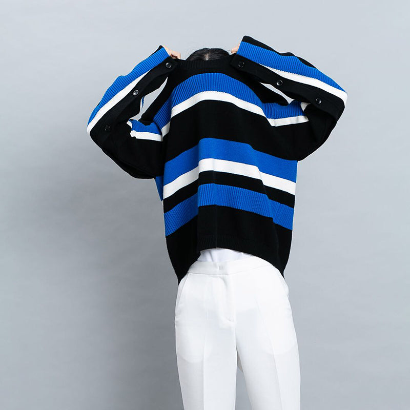 Women Winter Casual Stripe Wool Knitted Sweater