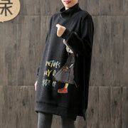 Cartoon Print Split Turtleneck Winter Cotton Dress