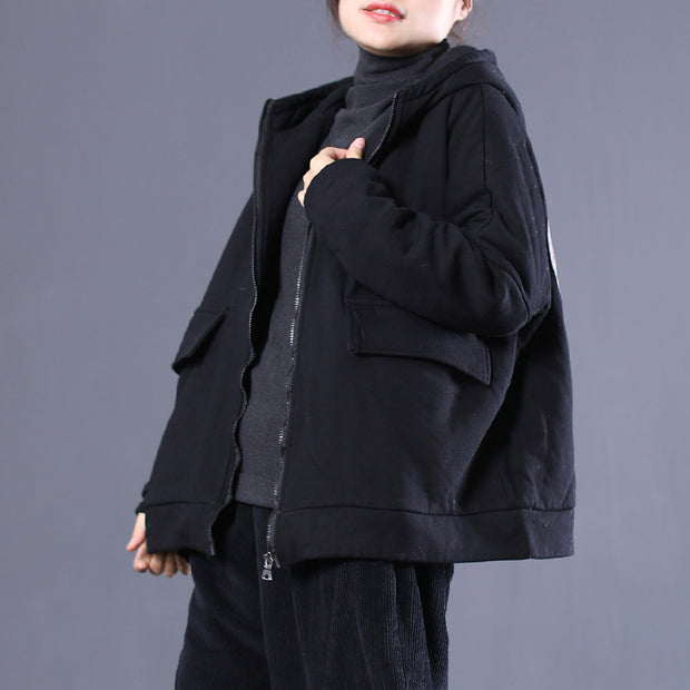 Zipper Up Hoodie Women Winter Casual Short Coat