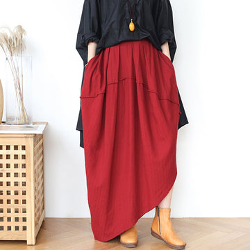 Oblique Hem Solid Color Spring Summer Skirt