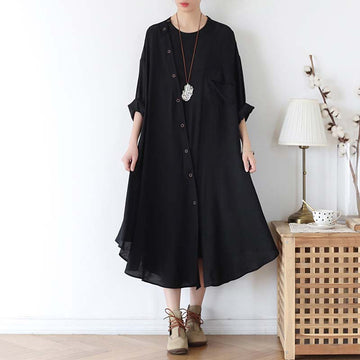 Oblique Placket Pleated Pocket Black Dress